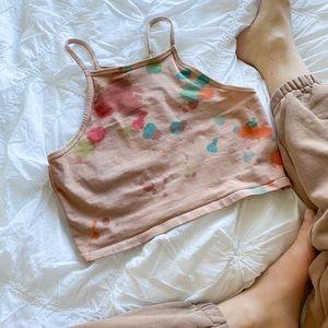 Women's SMALL hand dyed tank top crop top tie dye